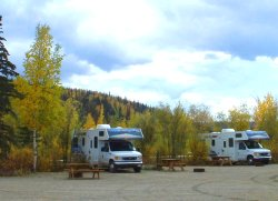 Electric pull-through RV sites at the Chicken Gold Camp - Chicken, Alaska