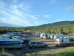 An Airstream caravan at the Chicken Gold Camp - Chicken, Alaska