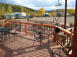 The deck and campground at the Chicken Gold Camp - Chicken, Alaska