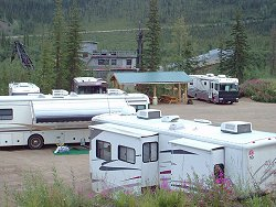 An RV group camping at the Chicken Gold Camp - Chicken, Alaska