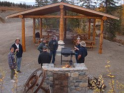A group grill at the pavilion at the Chicken Gold Camp - Chicken, Alaska