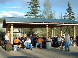 An RV group at the pavilion at the Chicken Gold Camp - Chicken, Alaska